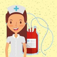 infermiera medica felice in uniforme e sacca di sangue vettore
