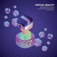 Ragazzo isometrico di realtà virtuale a 360 gradi con occhiali e cubi al neon vettore