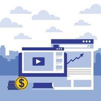 computer, sito Web e immagine finanziaria del rapporto finanziario