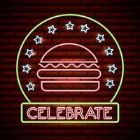 L'insegna al neon dell'hamburger con celebra il testo e le stelle