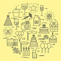 collezione di icone di compleanno e festa vettore