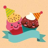 carta di compleanno con kawaii cupcakes indossando cappelli da festa e banner vettore