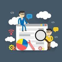 Illustrazione piana di analisi dei dati di web dell'illustrazione con due uomini intorno alla pagina Web