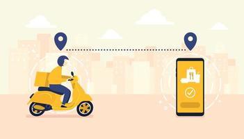 Servizio di consegna cibo con scooter con corriere