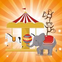 Icona di spettacolo del circo elefante vettore