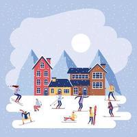 vacanze invernali natale vettore