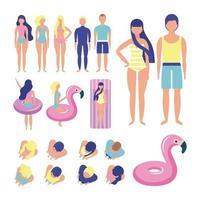 Set piscina estiva persone vettore