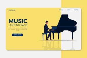 Modello di landing page musicale vettore