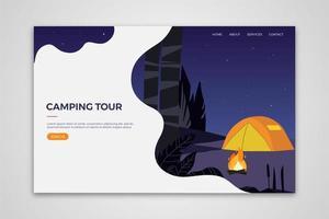 Modello di pagina di destinazione del tour di campeggio vettore
