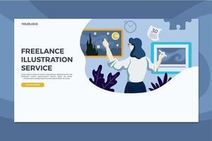 Modello indipendente della pagina di destinazione di servizio dell'illustrazione vettore