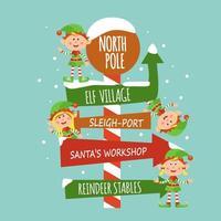 Immagine di Natale con elfi, fiocchi di neve, segno del Polo Nord vettore