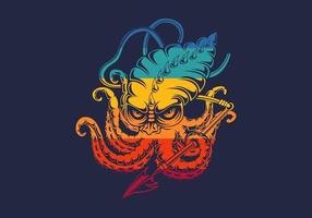 mostro colorato kraken vettore
