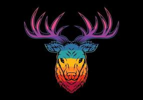 testa di cervo colorato vettore