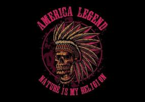 Teschio indiano America leggenda vettore