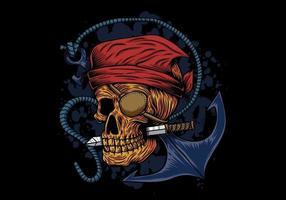 teschio pirata con coltello in bocca e ancora vettore