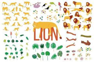 Raccolta piana disegnata a mano di leoni e piante tropicali isolate su fondo bianco. vettore