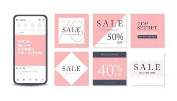 Progettazione del modello dell'insegna di vendita su fondo rosa. vettore