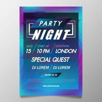 Modello del manifesto del festival di musica, aletta di filatoio del partito colorato night club