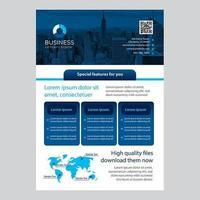 Design moderno blu brochure aziendale con forme rettangolari arrotondate vettore