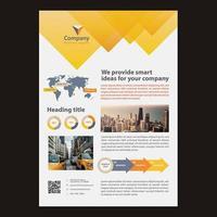 Progettazione moderna dell'opuscolo di affari di progettazione triangolare gialla