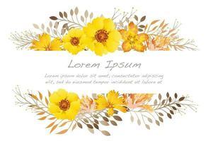 Illustrazione del fondo del fiore dell'acquerello con lo spazio del testo.