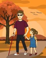 L'illustrazione di vettore dell'uomo cieco e sua figlia stanno camminando insieme in un parco al tramonto