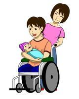 Un uomo disabile con una nuova famiglia vettore