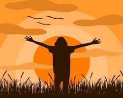 La donna che sta in piedi estende le braccia si sente liberata vettore
