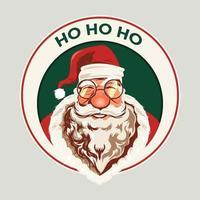 Faccia di sorriso vintage di Babbo Natale vettore