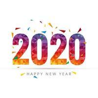 Modello di biglietto di auguri di felice anno nuovo 2020