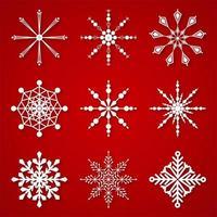 Bellissimi fiocchi di neve invernali impostare elementi vettore