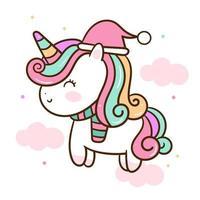 Simpatico unicorno vettoriale Kawaii animale personaggio natalizio