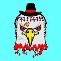 Aquila insanguinata con cappello nero