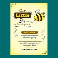 Invito di compleanno modificabile ape carino per bambini vettore