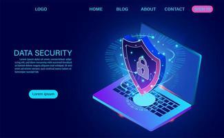 Concetto moderno di sicurezza dei dati. protegge i dati dai furti di dati e dagli attacchi degli hacker.