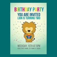 Invito festa di compleanno leone carino vettore