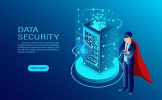 L'insegna di concetto di sicurezza dei dati con l'eroe protegge i dati con l'icona di uno scudo e una serratura vettore