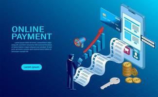 pagamento online con cellulare. protezione del denaro nelle transazioni tramite cellulare. vettore
