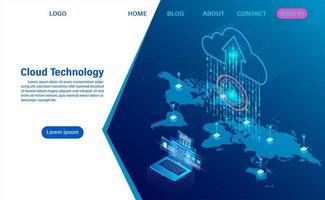 moderna tecnologia cloud e concetto di rete. vettore
