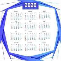Pulito 2020 modello di calendario bella onda disegno vettoriale