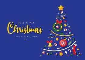 Albero di Natale fatto di articoli natalizi