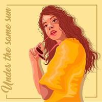 Donna ispanica in un vestito giallo che tiene i suoi occhiali da sole in mano vettore