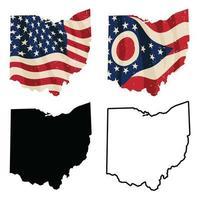 Ohio con bandiera USA vettore
