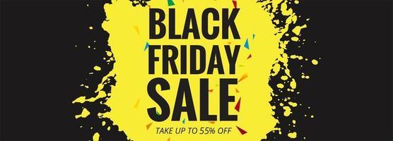 Illustrazione nera di vettore di progettazione della disposizione dell'insegna di vendita di venerdì