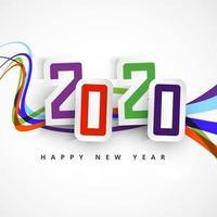 2020 Happy New Year Design colorato vettore