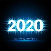 Disegno di carta celebrazione del testo di felice anno nuovo 2020 vettore