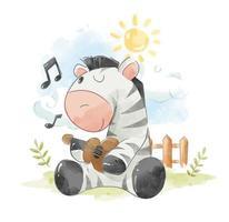 Zebra che suona la chitarra vettore