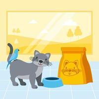 gatto e uccello con ciotola di cibo nel negozio di animali
