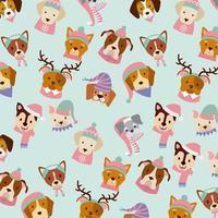 modello di carta buon Natale cane vettore