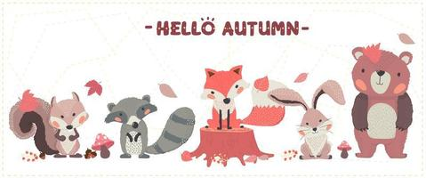 simpatico bosco di animali felice autunno volpe, procione, scoiattolo, coniglio e orso insieme vettore